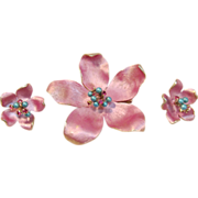 Sweet Pink Dogwood Flower Brooch and Clip Earrings by Kramer Circa 1960's