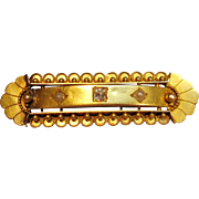 Rare Antique Etruscan Brooch in 15K Gold with Diamond Accent