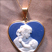 Classic Wedgewood Influenced Cameo Mother & Child Pendant