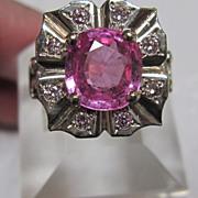 14K Pink Synthetic Chrysoberyl Ring