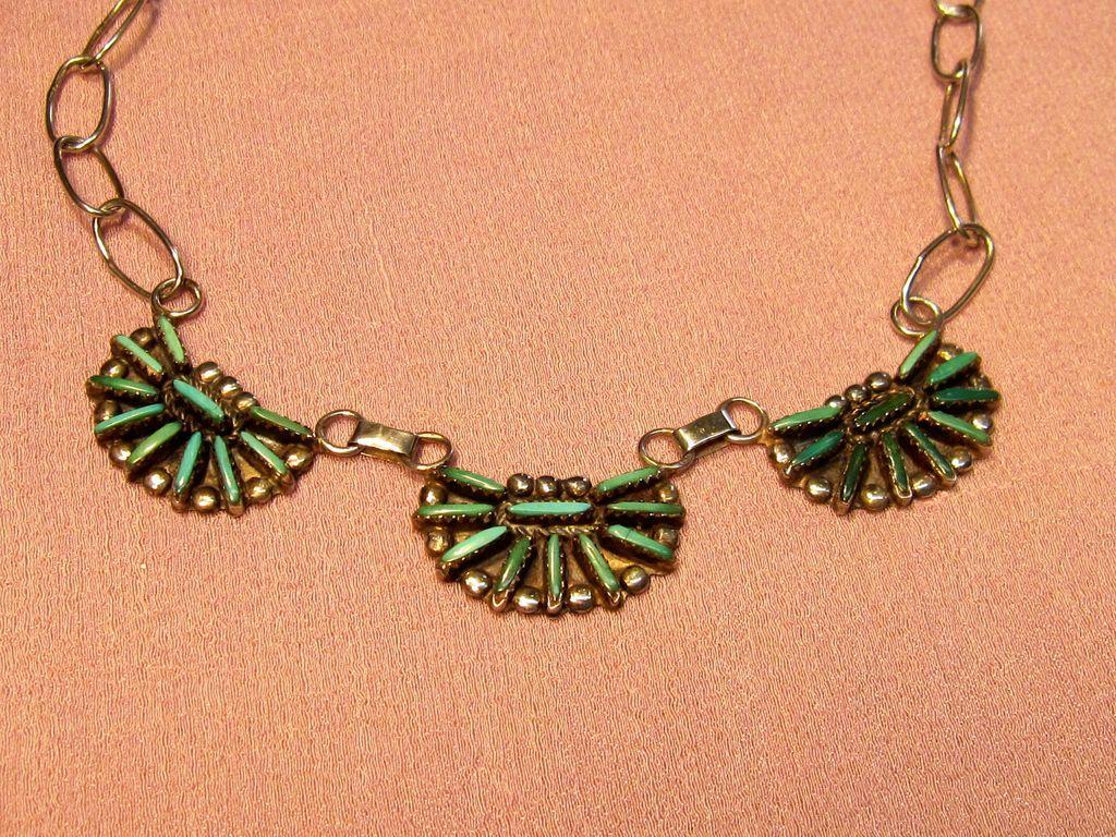 Vintage Zuni Petit Point Turquoise Necklace