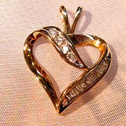 10K Classic Open Heart Pendant with Genuine Diamonds