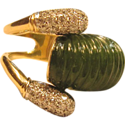 Bold and Intriguing Jade Ring with Diamonds in 14K Yellow gold