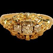 Vintage 3 Diamond Ring 14K Yellow Gold