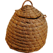 Beautiful and Unique Vintage Pine Needle Beehive Basket
