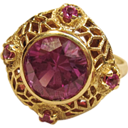 Radiantly Beautiful Vintage Synthetic Sapphire Ring in 14K Yellow Gold