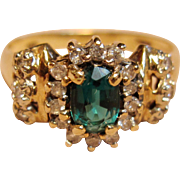 Vintage Lab Emerald Ring with Diamond Accents in 14K Yellow Gold