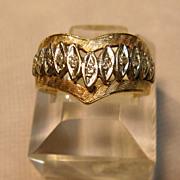 10K Chevron Ring with Diamond Accents