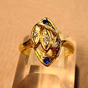 Unique Diamond & Sapphire Ring in 14K Yellow Gold