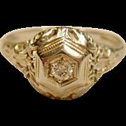 Antique Diamond Filigree Ring in 18K White Gold