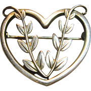 Highly Collectible Vintage Sterling Silver Heart Pin By Georg Jensen