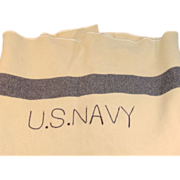 Vintage Military U.S. NAVY Cream Wool Medical Department Blanket