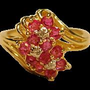 Fabulous Ruby & Diamond Ring in 14K Yellow Gold