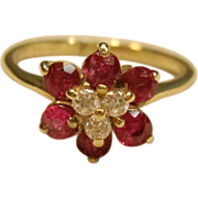 Regal Rubies and Diamonds Flower Ring in 14K Yellow Gold