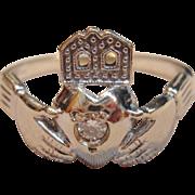 Symbolic Claddagh Irish Ring  with a Diamond in 14K White Gold