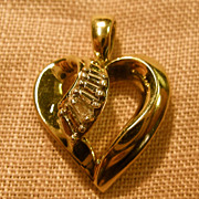 10K Yellow Gold Baguette Heart Pendant