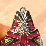 14K White Gold Shield Ring with Rubies and Diamond accents