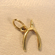 SALE Beautiful 14KT Yellow Gold Wishbone Charm or Pendant