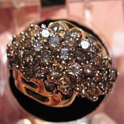 10K Champagne Diamond Cluster Ring