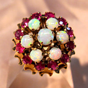 Vintage 18K Rose Gold Opal and Ruby Ring