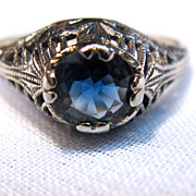 Antique 18K White Gold Filagree Ring with Natural Blue Sapphire