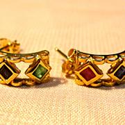 Classic 14K Yellow Gold Diamond Shaped Multi Stone Earrings
