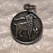 Sterling Silver Capricorn Zodiac Coin Charm