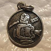 Sterling Silver Aquarius Zodiac Coin Charm
