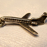Vintage Sterling 3-D Airplane Charm/Pendant