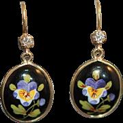 SALE -50%: Art Nouveau 14K Dia Enamel Pansy Earrings
