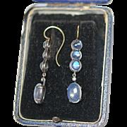 SALE FAB Art Nouveau 18K Dia Moonstone Cab Earrings c1890-1910