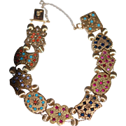 SALE Victorian Gemstone 14K Slide Bracelet Ruby Saph Coral Turq Pearl
