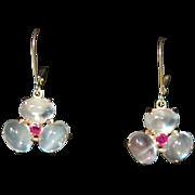 SALE PENDING Lg Moonstone Cabs w Ruby Center Dangle Earrings 14K