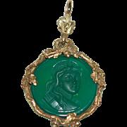 SALE -50%:Victorian Emerald Glass Intaglio 15-18ct Frame: Acorn, Snake, Oak Leaf, Ex Cond