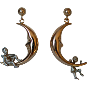14K Gold & Sterling Crescent Moon Cherub Angel Earrings