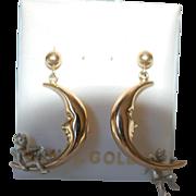 SALE 14K Crescent Moon Earrings w Cherub / Angel