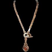 """SALE Antique 12ct Swivel Carnelian Watch Key 14K Clip, 12ct Chain 21"""""""