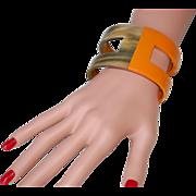 SALE -50%:Buffalo Horn & Enamel Cuff Bracelet: Designer Look