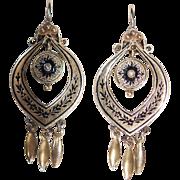 SALE Fabulous Victorian 14K Fringe Taille d' Espergne Earrings w Shepherd's Hook1250