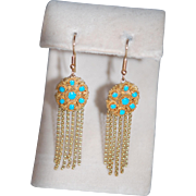 SALE French Victorian Cannetille 15ct Persian Turquoise Tassel Earrings