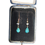 Fine Victorian 9ct Gold Turquoise Cabochon Earrings c1860-80