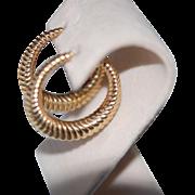 """SALE 20% OFF:Vintage Tiffany Bold 14K Large 1.5"""" Hoop Earrings"""