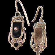 SALE Victorian Mourning Onyx Gold Earrings w Shepherd's Wire