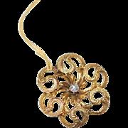 "14K Gold & Diamond Love Knot Victorian Pin ""C"" catch"