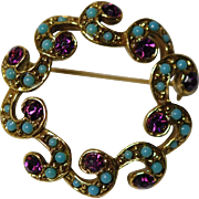 Vintage Turquoise Amethyst Pin Brooch