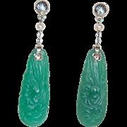 SALE Carved Chrysoprase Art Nouveau 18K WG Earrings