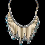 Vintage Hndmade Turquoise Silver Bamboo Necklace Bib