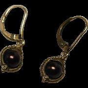 SOLD Vintage Dana Kellin Gold Wire Wrap Brown Pearl Earrings, GF