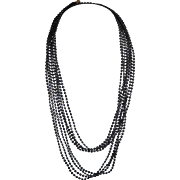 "Early 52"" Black Jet Faceted Multi Strand Plastic Necklace"
