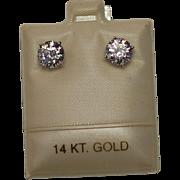 14K Stud Earrings 3ct TW Cz Vintage new Stock